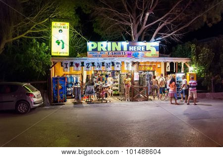 Souvenir Shop In Laganas At Night