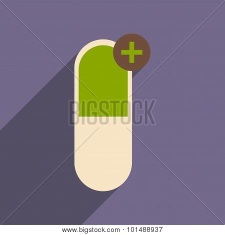 Flat with shadow icon and mobile application pharmaceutics