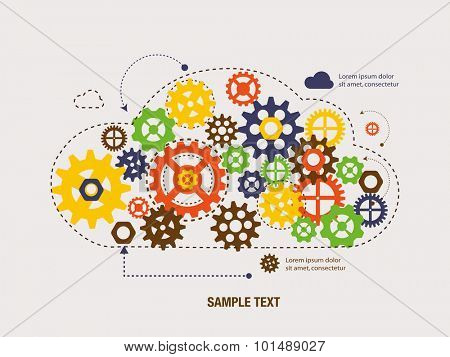 Gears inside Cloud. Technology computing concept  vector illustration