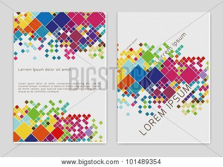 Vector  business brochure or magazine  with color squares cover  template
