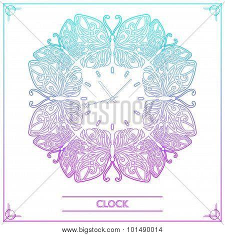 Butterfly Clock Lineart