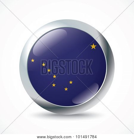 Alaska flag button - vector illustration