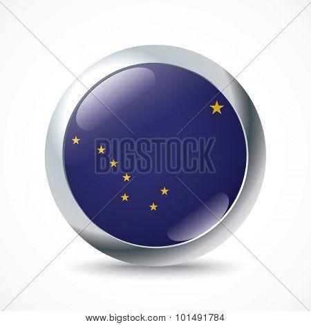 Alaska flag button - vector illustration