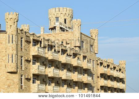 The Hotel In Form Of  Lock Revetted With The Dagestan Stone