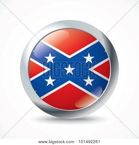 Confederate flag button - vector illustration