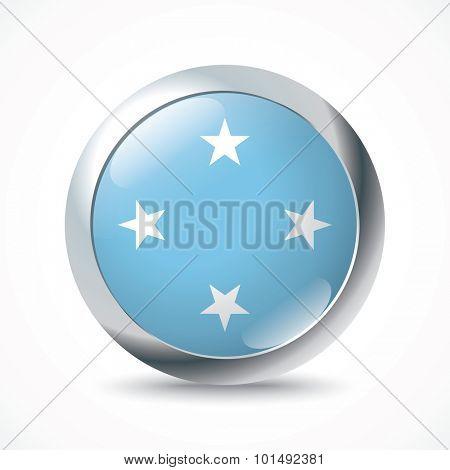 Micronesia flag button - vector illustration