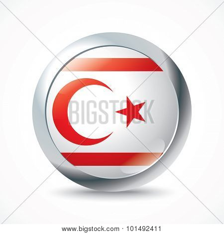 Northern Cyprus flag button - vector illustration