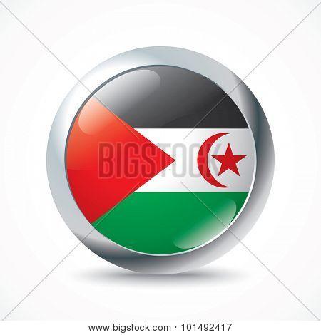 Western Sahara flag button - vector illustration