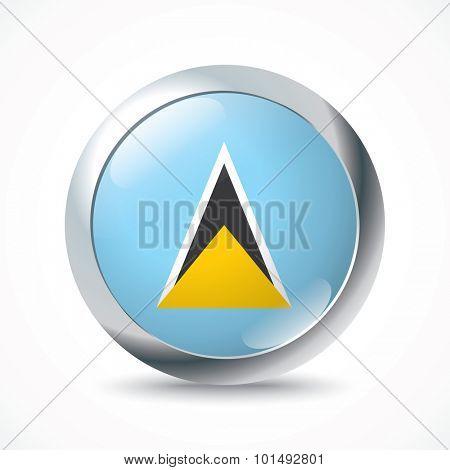 Saint Lucia flag button - vector illustration