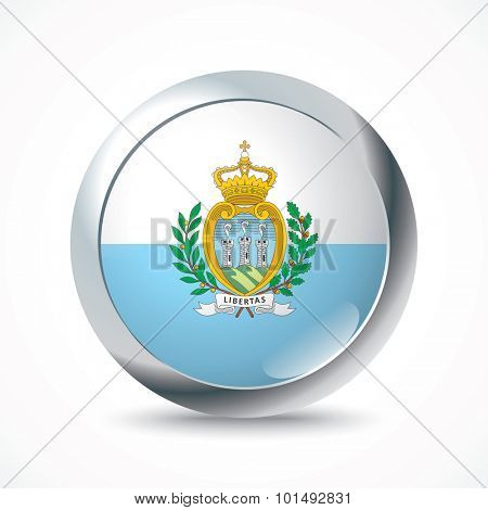 San Marino flag button - vector illustration