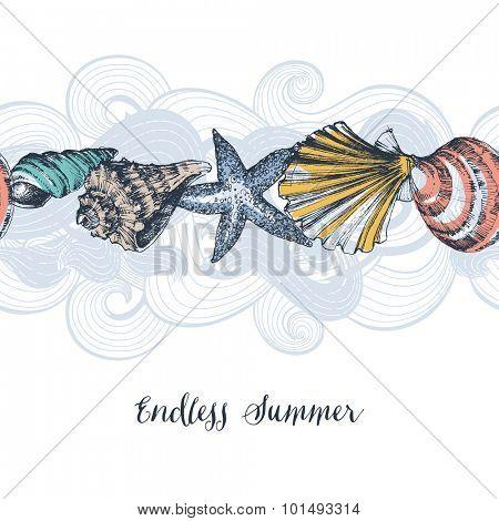 Sea shells background seamless pattern