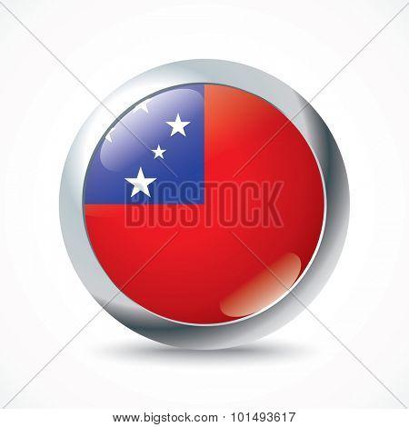 Samoa flag button - vector illustration