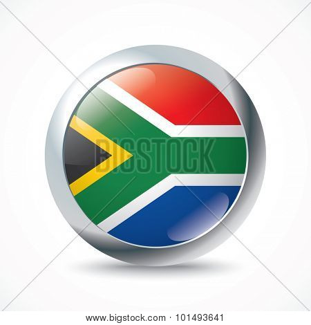South Africa flag button - vector illustration