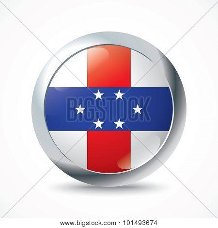 Netherlands Antilles flag button - vector illustration