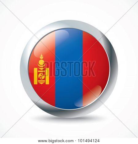 Mongolia flag button - vector illustration