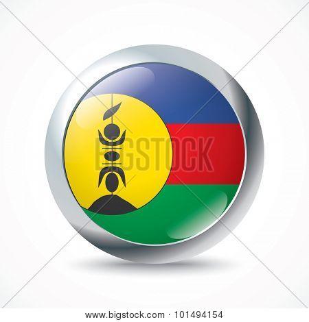 New Caledonia flag button - vector illustration