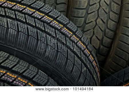 Tyre texture closeup of various patterns