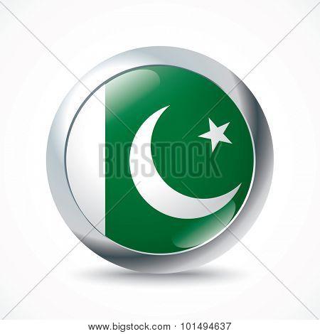 Pakistan flag button - vector illustration