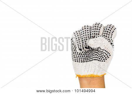 Hand In Industrial Glove Tighten Fist Against White Background.