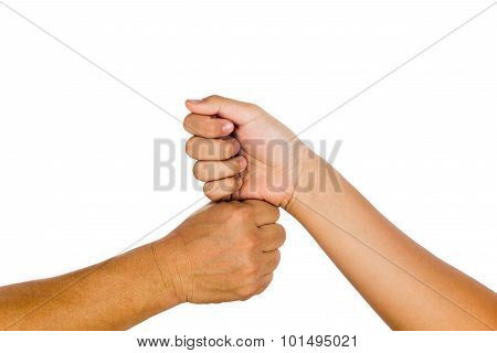 Vertical Fist Bump Gesturing An Agreement And Cooperation.