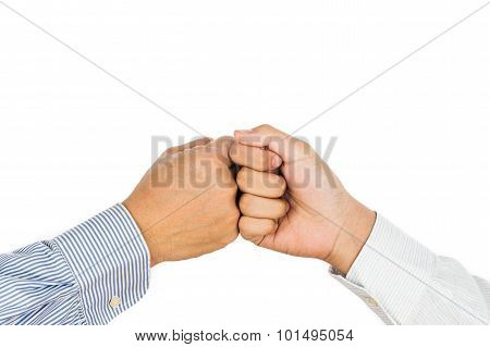 Fist Bump On Formal Wear, Gesturing An Agreement And Cooperation.