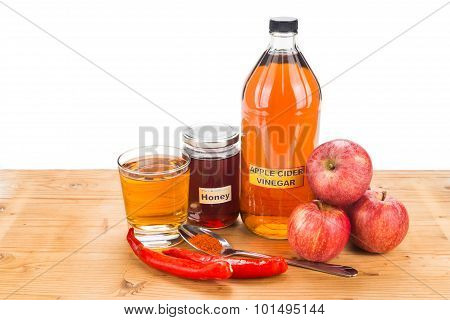 Apple Cider Vinegar With Honey And Cayenne Pepper, Natural Remedies And Cures For Common Health Cond