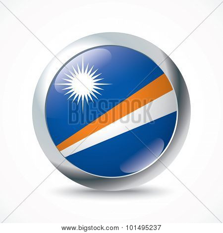 Marshall Islands flag button - vector illustration
