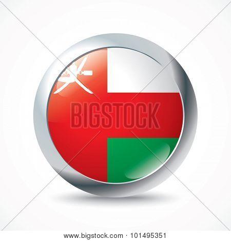 Oman flag button - vector illustration