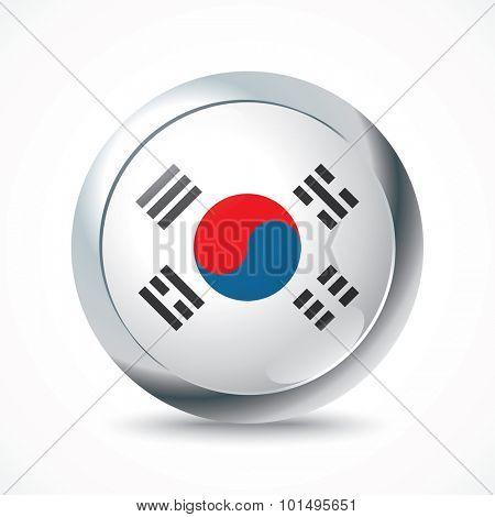 South Korea flag button - vector illustration