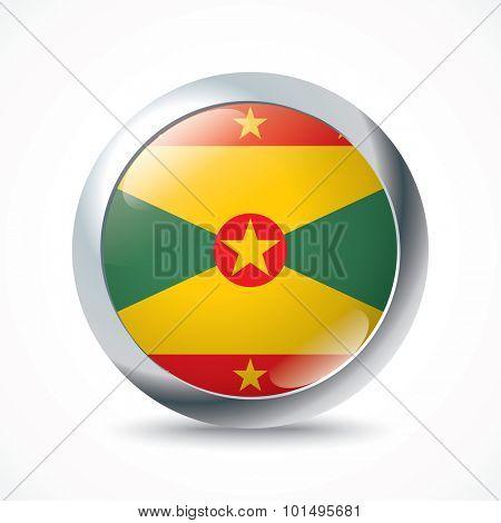 Grenada flag button - vector illustration