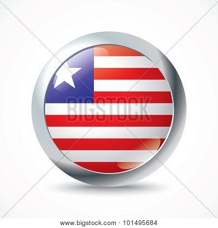 Liberia flag button - vector illustration