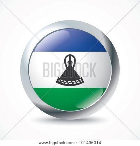 Lesotho flag button - vector illustration