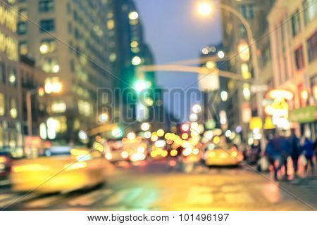 New York City Abstract Rush Hour - Defocused Yellow Taxi Cabs And Traffic Jam On 5Th Avenue In Manha