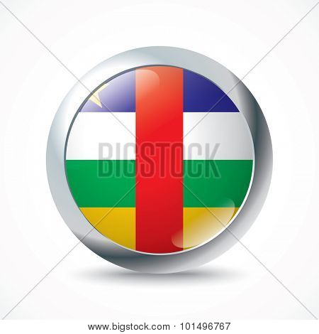 Central African Republic flag button - vector illustration