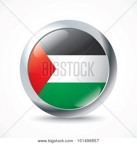 Gaza Strip flag button - vector illustration