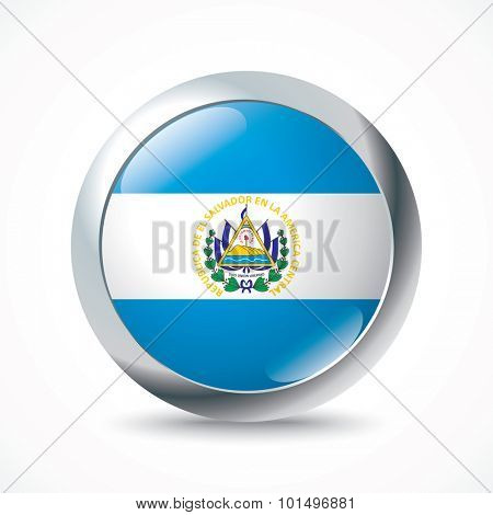 El Salvador flag button - vector illustration