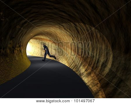 Concept or conceptual 3D business man, dark road tunnel with bright light at the end background