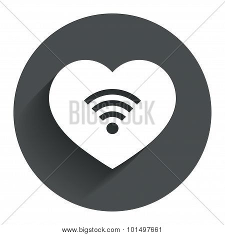 Love Wifi sign. Wi-fi symbol. Wireless Network.