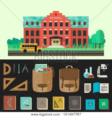School building vector illustration with education icons.