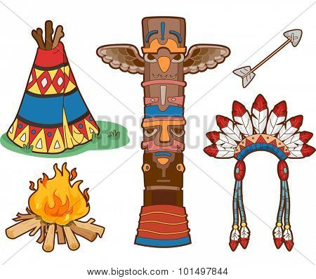 Illustration Set Featuring Things Commonly Associated with Native Americans