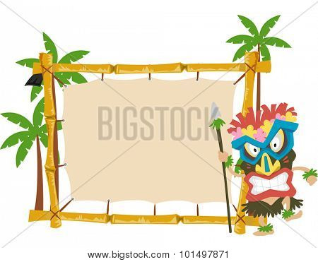 Illustration of a Man Wearing a Tiki Mask Standing Beside a Wooden Banner