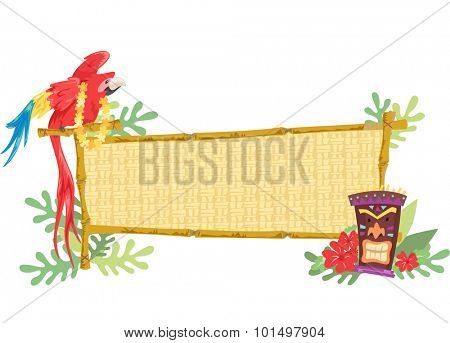 Illustration of a Parrot Perched on a Wooden Banner with a Tiki Statue Beside It