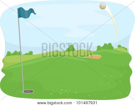 Illustration of a Golf Ball Flying Towards a Golf Hole