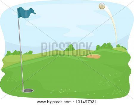 Illustration of a Golf Ball Flying Towards a Golf Hole