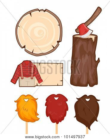 Illustration Set Featuring Things Usually Associated with Lumberjacks
