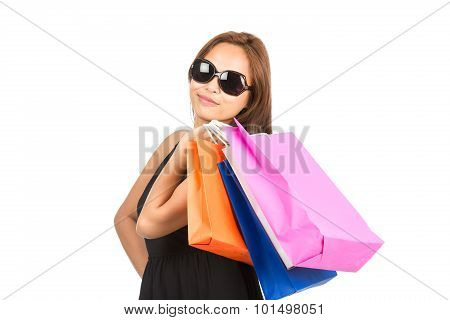 Shopping Asian Woman Colorful Bags At Camera H