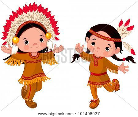 Illustration of cute kids wears Native American costume