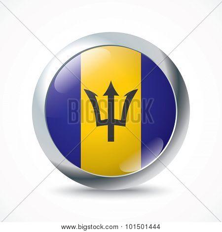 Barbados flag button - vector illustration