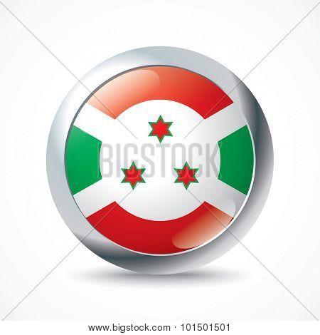 Burundi flag button - vector illustration