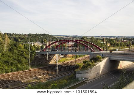Holzbruecke In Werdau Crossing Over Rail Tracks And The Westtrasse, Germany, 2015